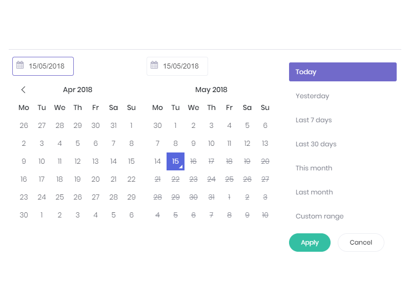 Dashboard custom date range