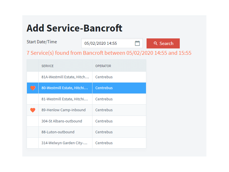 MyBus add services screen