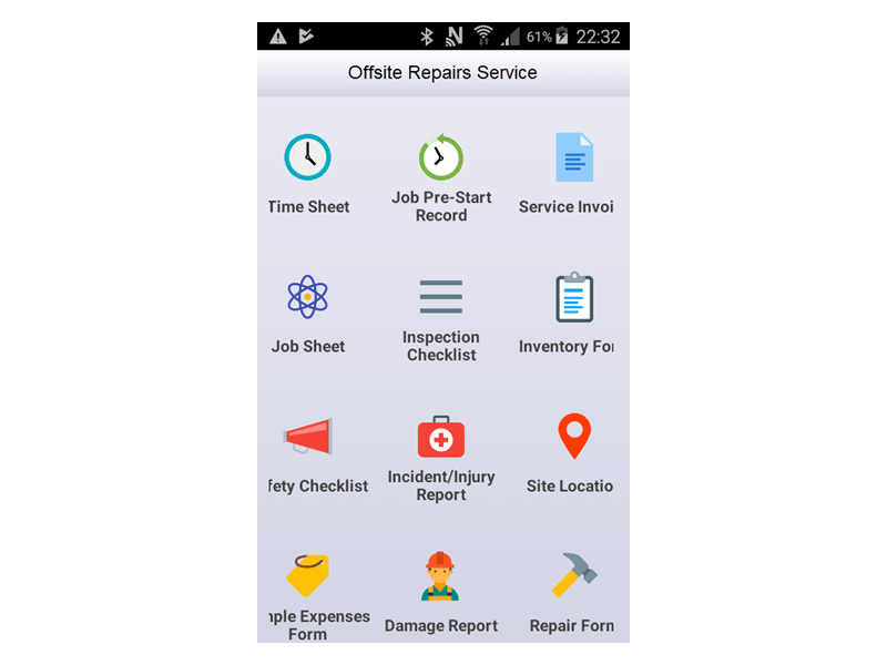 Mobile app menu screen